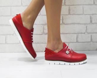 Дамски обувки Гигант равни естествена кожа червени JNRQ-26183