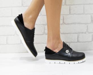 Дамски обувки Гигант равни естествена кожа черни JYUO-26184