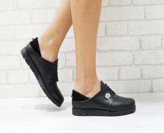 Дамски обувки Гигант равни естествена кожа черни JPBZ-26186