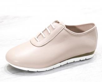 Дамски обувки Гигант равни естествена кожа пудра