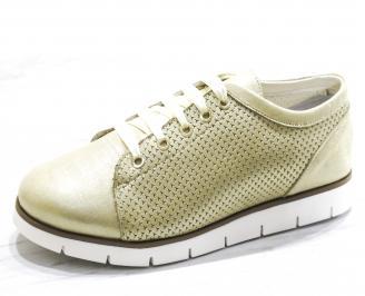 Дамски обувки Гигант равни естествена кожа златисти QBEX-26510