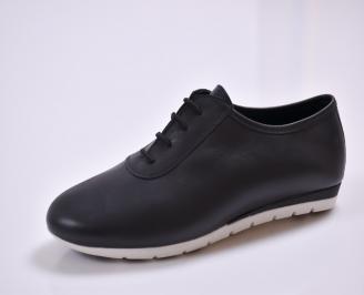 Дамски обувки Гигант равни естествена кожа черни TGDQ-26866