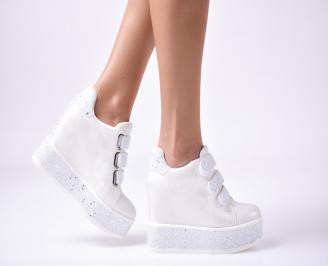 Дамски обувки на платформа еко кожа бели VFTZ-1010007