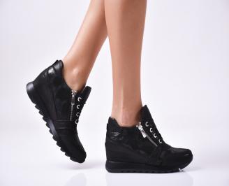 Дамски  обувки  на платформа естествена кожа черни CTVF-1010022