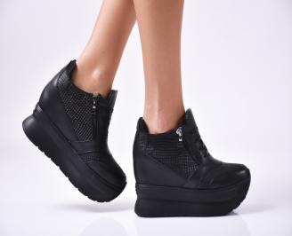 Дамски  обувки  на платформа естествена кожа черни PNSW-1010023