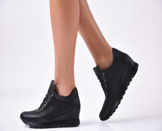Дамски  обувки  на платформа естествена кожа черни YCJA-1010024