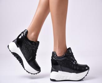 Дамски обувки на платформа еко кожа/лак черни IDRL-1010028
