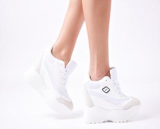 Дамски обувки на платформа еко кожа бели PYYO-1010031