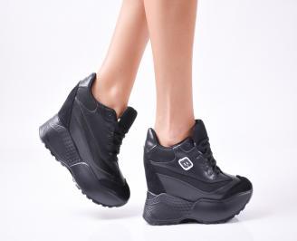 Дамски  обувки  на платформа еко кожа черни IOTW-1010033
