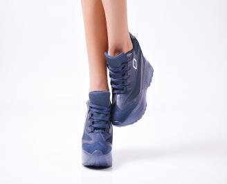 Дамски  обувки  на платформа еко кожа сини CQXQ-1010034
