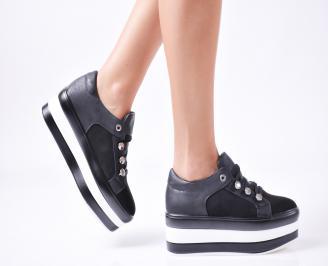 Дамски  обувки  на платформа еко кожа черни QJXZ-1010035