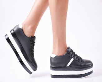 Дамски  обувки  на платформа еко кожа черни CFVD-1010037