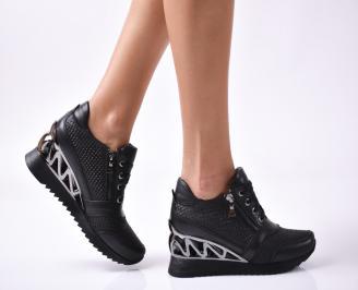 Дамски  обувки  на платформа естествена кожа черни WLHM-1010060