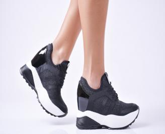 Дамски  обувки  на платформа еко кожа черни CZAF-1010103