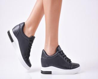 Дамски  обувки  на платформа еко кожа черни TKCY-1010105
