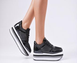 Дамски обувки на платформа еко кожа/лак черни EUZM-1010234