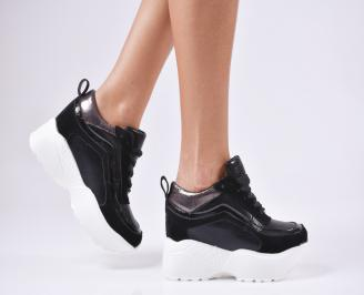 Дамски обувки на платформа еко кожа черни NVFR-1010236