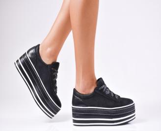 Дамски обувки на платформа еко кожа/текстил черни XGYJ-1010239