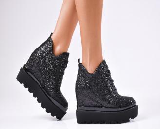 Дамски обувки на платформа еко кожа/брокат черни DVEG-1010241