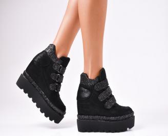 Дамски обувки на платформа еко кожа/брокат черни EZST-1010242