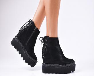 Дамски обувки на платформа еко кожа/брокат черни YNVG-1010243