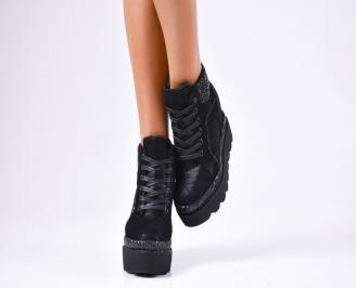 Дамски обувки на платформа еко кожа/брокат черни LRZW-1010244