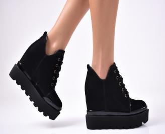 Дамски обувки на платформа еко велур черни KZUL-1010246
