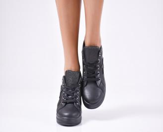 Дамски обувки на платформа еко кожа черни BEGF-1010298
