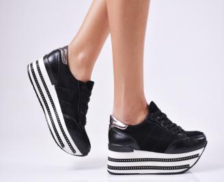 Дамски обувки на платформа еко кожа/еко набук черни LAWY-1010565