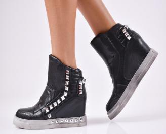 Дамски обувки на платформа еко кожа черни NOWS-1010566