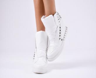 Дамски обувки на платформа еко кожа бели RHQF-1010567