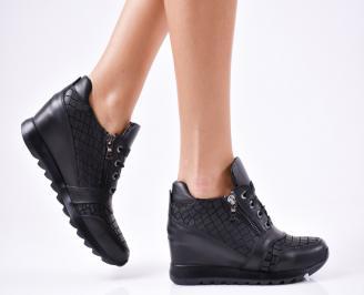 Дамски  обувки  на платформа естествена кожа черни WDCD-1010623