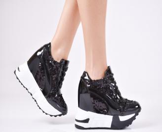 Дамски обувки на платформа еко кожа/лак черни PJTT-1010753