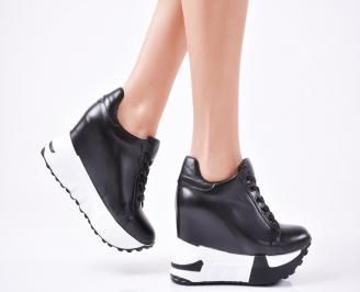 Дамски обувки на платформа еко кожа черни YNGZ-1010918