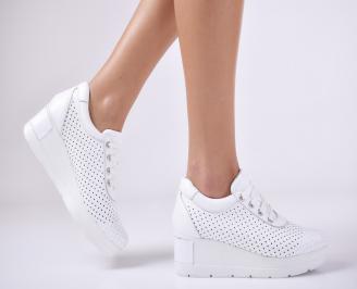 Дамски обувки  на платформа естествена  кожа бели PEQO-1011063