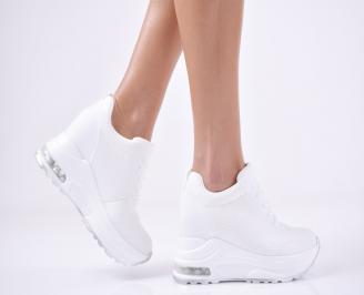 Дамски обувки на платформа еко кожа бели CNWL-1011094