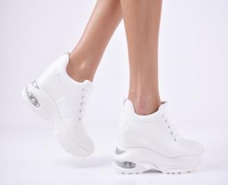 Дамски обувки на платформа текстил бели EXTA-1011097