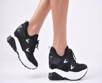 Дамски обувки на платформа текстил черни NTPP-1011098