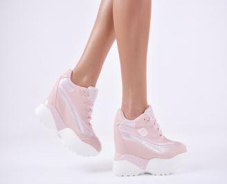 Дамски обувки  на платформа еко кожа пудра TCFO-1011099
