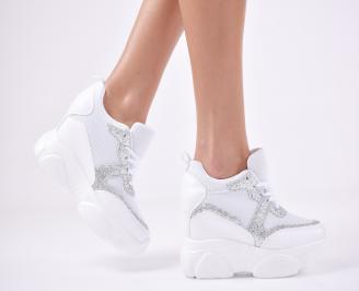 Дамски обувки на платформа еко кожа/текстил бели YXKX-1011100