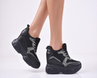 Дамски обувки на платформа еко кожа/текстил черни JAPQ-1011103