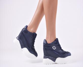 Дамски обувки на платформа еко кожа/текстил сини JOFQ-1011104