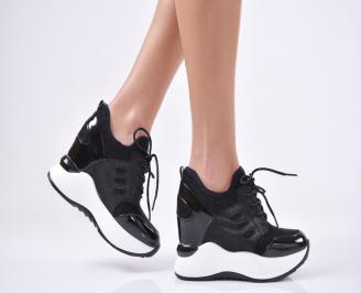 Дамски обувки на платформа еко лак/текстил черни BYOQ-1011106