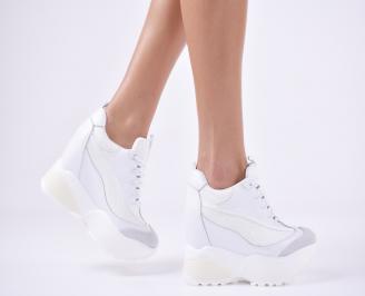 Дамски обувки на платформа еко кожа/текстил бели MXIV-1011107