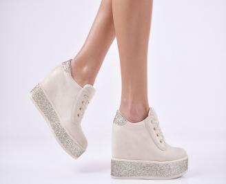 Дамски обувки на платформа еко велур бежови LBKH-1011108