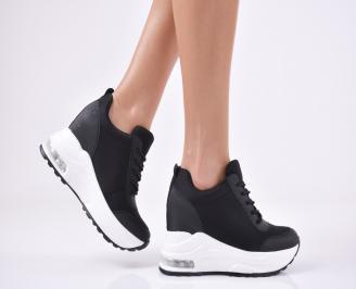 Дамски обувки на платформа текстил черни DKLR-1011109