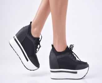 Дамски обувки на платформа текстил черни ZJNA-1011116