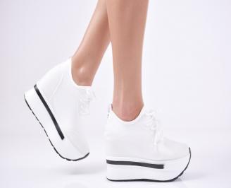 Дамски обувки на платформа текстил бели QNFR-1011117
