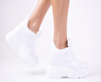 Дамски обувки на платформа еко кожа бели FNUK-1011348