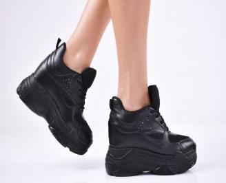 Дамски обувки на платформа еко кожа черни JTYV-1011355